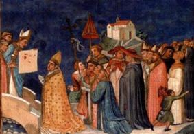 El Obispo Giaccomo, acompañado de Santo Tomás, presenta el corporal al Papa.