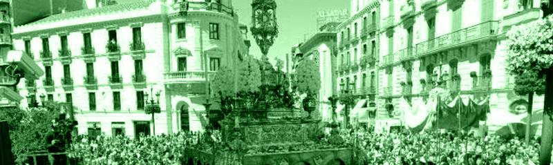 Procesión durante el Corpus Christi de Toledo, a la altura de Zocodover